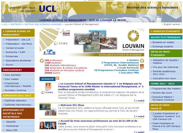 La Louvain School of Management (UCL) classée 22ème par le Financial Times