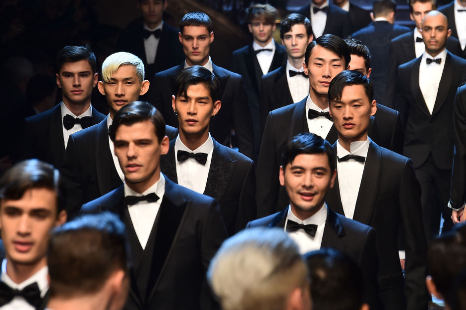0f853c750a Models present creations for fashion house Dolce Gabbana during the Men's  Fall-Winter 2017-2018 fashion week on January 14, 2017 in Milan.